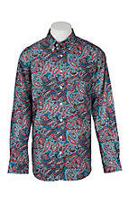 Cinch Men's Red & Blue Paisley Print Long Sleeve Western Shirt