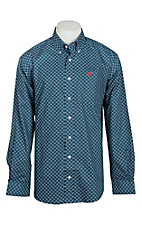 Cinch Men's Teal Geo Print L/S Western Shirt