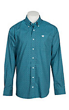 Cinch Men's Teal Dot Print L/S Western Shirt