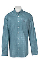 Cinch Men's Teal Geometric Print Long Sleeve Western Shirt