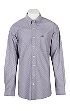 Cinch Men's Light Purple Plaid L/S Western Shirt