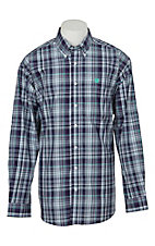 Cinch Men's Purple, Mint and White Plaid L/S Western Shirt