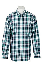 Cinch Men's Teal and White Plaid L/S Western Shirt