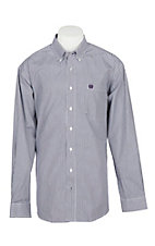 Cinch Men's Purple and White Stripe L/S Western Shirt