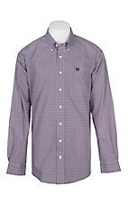 Cinch Men's Purple and White Geo Print L/S Western Shirt