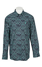 Cinch Men's Purple and Mint Paisley Print L/S Western Shirt
