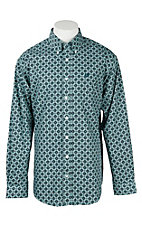 Cinch Men's Mint and Teal Medallion Print L/S Western Shirt