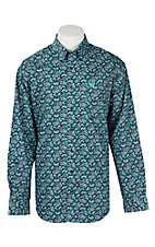Cinch Men's Teal Paisley Print L/S Western Shirt