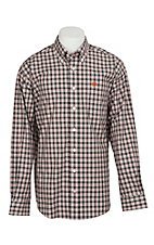Cinch Men's White, Navy and Orange Plaid L/S Western Shirt