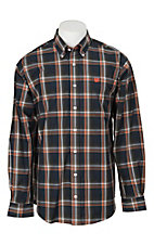 Cinch Men's Navy and Orange Plaid L/S Western Shirt