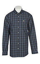 Cinch Men's Navy, White and Gold Grid Plaid L/S Western Shirt