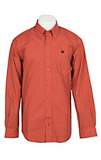 Cinch Men's Orange Floral Print L/S Western Shirt