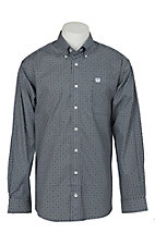 Cinch Men's Navy and White Geo Print L/S Western Shirt