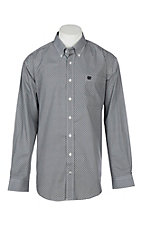 Cinch Men's Navy and Khaki Print L/S Western Shirt