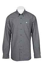 Cinch Men's Grey and Mint Plaid L/S Western Shirt