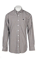 Cinch Men's Brown, Orange and White Plaid L/S Western Shirt
