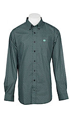 Cinch Men's Black and Mint Medallion Print L/S Western Shirt