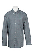 Cinch Men's Grey and Mint Geo Print L/S Western Shirt