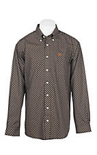 Cinch Men's Black and Brown Square Print L/S Western Shirt