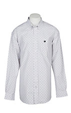 Cinch Men's White with Tan and Black Grid Print L/S Western Shirt