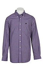 Cinch Men's Purple and White Plaid L/S Western Shirt