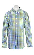 Cinch Men's Green, Blue and Black Plaid L/S Western Shirt