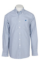 Cinch Men's White and Blue Grid Print L/S Western Shirt