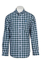 Cinch Men's Blue, Green and Black Plaid L/S Western Shirt