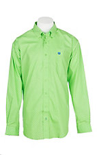 Cinch Men's Lime Green Mini Print L/S Western Shirt