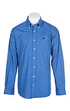 Cinch Men's Royal Blue Diamond Print L/S Western Shirt