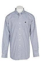 Cinch Men's Blue and White Geo Print L/S Western Shirt