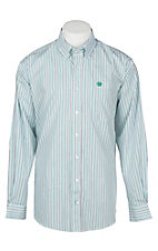 Cinch Men's Turquoise and Brown Stripe L/S Western Shirt