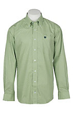 Cinch Men's Light Green Diamond Print L/S Western Shirt