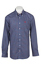 Cinch Men's Blue and Red Medallion Print Short Sleeve Western Shirt