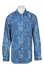 Cinch Men's Blue with Navy and White Paisley Print Long Sleeve Western Shirt