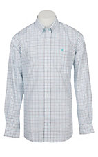 Cinch Men's Turquoise and Navy Tattersall Plaid Western Plaid Button Down Shirt