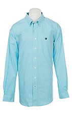 Cinch Men's Mini Striped Turquoise Long Sleeve Western Shirt