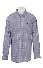 Cinch Men's Navy, White, Lilac Circle Print Western Shirt