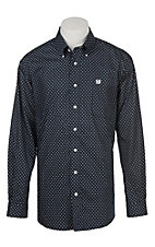 Cinch Men's Navy and White Flower Geometric Print Long Sleeve Western Button Down Shirt