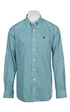 Cinch Men's Teal Geo Diamond Print Western Button Down Shirt