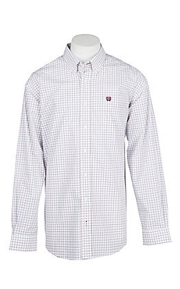 Cinch Men's White, Red and Black Windowpane Cavender's Exclusive L/S Western Shirt