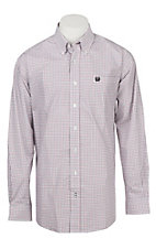 Cinch Men's White, Red, and Black Windowpane Plaid Western Button Down Shirt