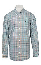 Cinch Men's Plaid White and Turquoise Western Button Down Shirt