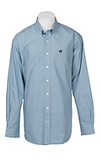Cinch Men's Light Blue Plaid Print Long Sleeve Western Shirt