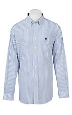 Cinch Men's Navy Blue Striped Long Sleeve Western Shirt