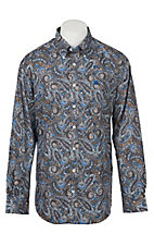 Cinch Men's Brown and Blue Paisley Print Western Shirt