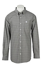 Cinch Men's Black, White, Grey Gingham Plaid Western Button Down Shirt