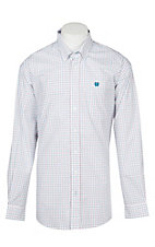 Cinch Men's Teal and Red Tattersall Plaid Western Plaid Button Down Shirt