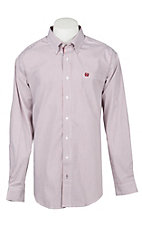 Cinch Men's Red & White Striped Print Western Button Down Shirt