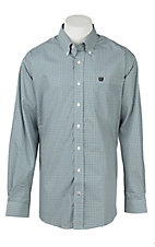 Cinch Men's Blue Square Print Long Sleeve Western Shirt